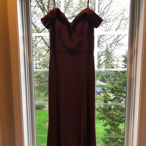 Morgan & Co Sweetheart Neck Off-Shoulder Gown